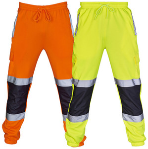 Gli uomini del lavoro di strada ad alta visibilità Tuta Pantaloni Pocket lavoro in bicicletta per pantaloni pantaloni del maschio riflettente Allenamento