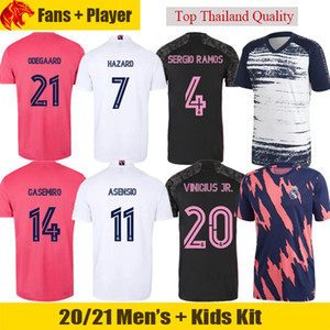 20 21 Real Madrid Soccer Jerseys HAZARD 2020 2021 Fans & Player version ASENSIO BENZEMA Football Shirt ZIDANE VINICIUS JR Mens Jersey Kids Kit