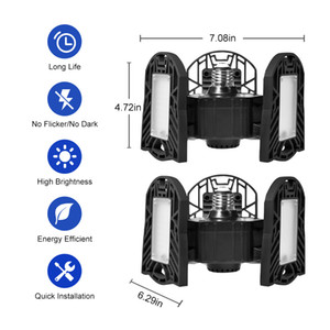LED Adjustable 3 Light Garage Lamp High Bay Light No Sensor For garages, Homes, Warehouses,Factory Workshops, Warehouse