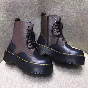 Qualità superiore liscia Jadon Martin scarpe piattaforma stivali caviglia donne inverno stivali da combattimento 100% vera pelle 8-Occhiello di avvio con la scatola 8colors