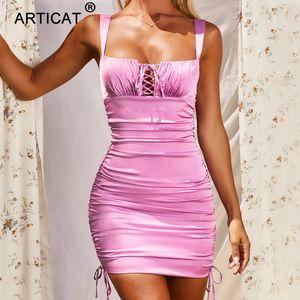 Повседневные платья Articat Satin Pollow DrawString Out out ruched платье для женщин сплошной осенью сексуальная мини женская уличная одежда бандаж Vestidos