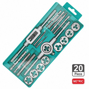 Attrezzi manuali 20pcs qualità Tap High And Die Set filettatura metrica Tap e muore Chiave inglese 1 / 8-1 / 2 3mm-12 millimetri Vite LYlh #
