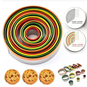 Colorido del acero inoxidable de la galleta de 12pzas Juego de corte redondo / Forma de corte Moldes Mousse Torta de la galleta del cortador de donuts YYA366 20pcs
