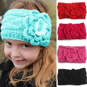 Crochet Headbands Flower Baby Girl Head Bands Winter Braided Children Ear Warmers Warm Headwrap Fashion Hair Accessories 8 Colors