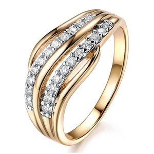 Fashion Wedding Ring For Women Classic Luxury Mini Crystal Zircon Rings Rose Gold Color Engagement Eternity Bridal Rings Jewelry