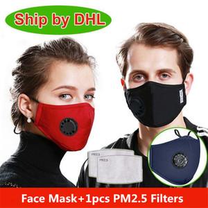 США Stock моющийся маска для лица Anti-Dust многоразовый РМ2,5 Маски с 1 Фильтр клапан Защитные Ткань Велоспорт Спорт Маски Индивидуальный пакет