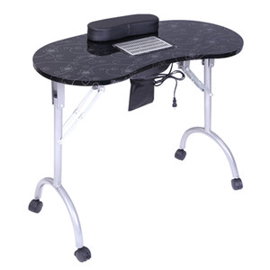 WACO Manicure Nail Table, Portable Folding with Dust Collector Cushion Fan Nail Station Technician Desk Workstation Client Wrist Pad Black