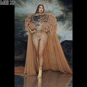 Atmospheric queen lion print gauze cape onesie nightclub bar concert DJ singer dancer costume
