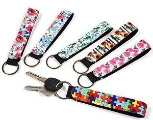 Hot Neoprene Wristlet Keychains Lanyard Serape Prints Strap Band Split Ring Key Chain Holder Key Hand Wrist Lanyard Keychain For Girls Wome