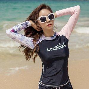 diving protector solar de las nuevas mujeres de manga larga pantalones cortos de playa pareja de surf traje traje de buceo traje de baño de secado rápido medusas