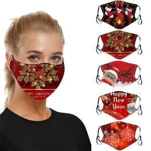 2020 Weihnachtsmode Gesichtsmaske staubdichtlich atmungsaktiv Santa Claus Elk Druck Baumwollmaske einstellbar wiederverwendbarer Bling Bling Weihnachten Gesichtsmasken
