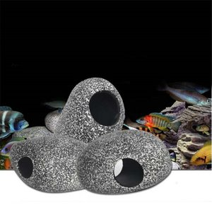 Aquarium Cichlid Stone Ceramic Rock Cave Aquarium Fish Tank Pond Shrimp Breeding Ornament Shelter Generate Decor Acc Decorative Marbles New