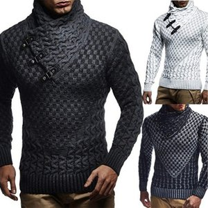 Leather Buckle Coarse Sweater Men Turtleneck Mens Knitted Pullover Casual Autumn Elastic Knitting Sweater Coat Knitwear Pull 3XL