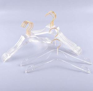 فاخر الملابس الشماعات واضح اللباس الاكريليك المعلقون مع الذهب هوك قميص شفاف حامل اللقب مع الشقوق للسيدة الاطفال SN4584