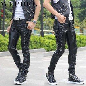 WEPBEL Homens Lace-up Ambição Punk Rock Estilo de couro calça preta Steampunk gótico Magro personalizado calças compridas Plus Size S ~ 5XL