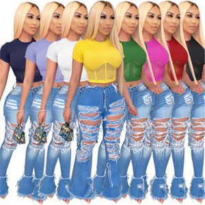 Alta elasticidade linhas em relevo Padrão Curto Tshirts Mulheres com nervuras Tops Fashion Trend manga curta magro com nervuras Top Curto Designer
