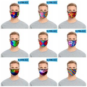 Tissu anti-poussière Masque Anti Haze respirateurs Lavable Mascarilla de protection Bouche arc-en-couleurs vives Festival de Carnaval 2 2fdi D2