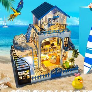 Sylvanian Families House DIY Hut Blue Love Sea Handmade Creative Model Wood DIY Dollhouse Toys For Girls Valentine Gifts Toys u0qp#