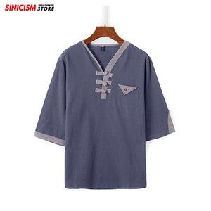 Soltas de algodão Sinicism loja Men Vintage Linen TShirts Mens 2020 Tops Buckle verão camisetas Masculino retalhos roupas de estilo chinês