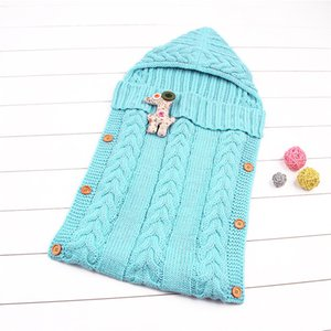INS Newborn Baby Winter Autumn Solid Color Sleeping Bag Cotton Warm Blanket Wrap Baby Cute Button Nursery Bedding Baby's Sleeping Bag Design
