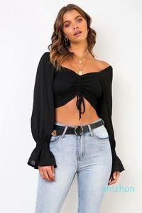 Hot Sale 25 Elegant pleated bow casual blouse women Autumn short ruffle beach blouse female top Cool mini crop tops blusas