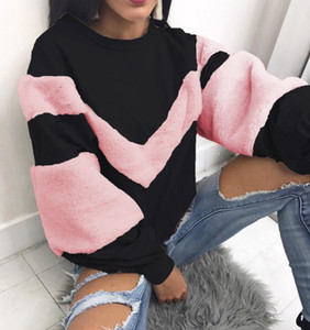 New Fashion Womens Autumn Winter Hoodies Sweatshirts Long Sleeve Patchwork Striped Clothes Pullover Sweatshirt For Female