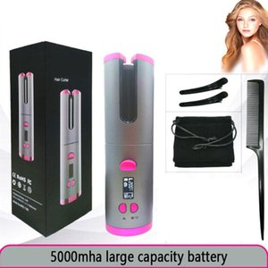 Cordless Auto Hair Curler Wand Curling Iron Wireless USB Rechargeable Fast Heating Ceramic Barrel Hair Curlers Curling Hair Styler Tools