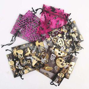 9 * 12cm cordão Organza Bag Halloween Doces Sacos do partido do papel de embrulho ouro abóbora Crânio Bat Teia de aranha Imprimir Bouquet Food Brinquedos Embalagem D81804