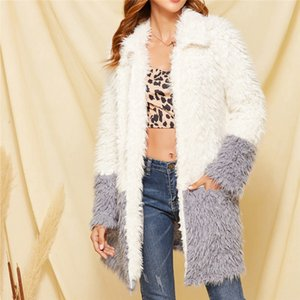 Thick Warm Coat Winter Womens Slim Warm Plush Bright Color Faux Splice Coat Comfortable Jacket Outerwear Casacas Para Mujer N4