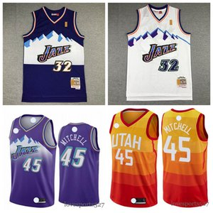 Utah 2020 Hombresjazzmaillot 45 DonovanMitchell 32 KarlMalone retroceso camisetas de baloncesto azul blanco 827