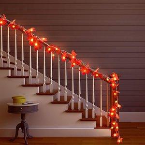 LED Maple Leaf Fée Guirlande LED lumière 1,5M 3M 6M Plante artificielle en rotin de vacances Salle de mariage de Noël Éclairage décoratif