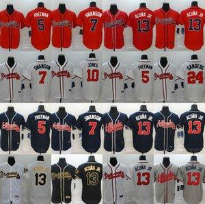 New Atlanta 2020 Braves 13 Ronald Acuna Jr Jersey 5 Freddie Freeman 7 Dansby Swanson 24 Deion Sanders Men Women kids jersey