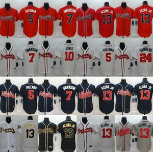 Nova Atlanta Braves 2020 13 Ronald Acuna Jr Jersey 5 Freddie Freeman 7 Dansby Swanson 24 Deion Sanders Homens Mulheres crianças jersey