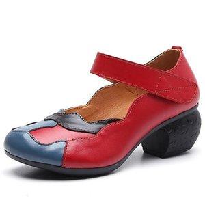 Spell Promoción 2020 New Classic colores originales de los zapatos de cuero Zapatos de mujer antideslizantes grueso con tacones altos zapatos de moda elegante