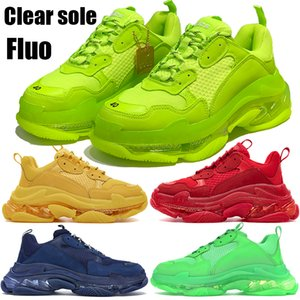 Mode Triple S klar Sohle dad Schuhe 17FW Plattform schwarz weiß gelb Regenbogen beige grau Männer Frauen Turnschuhe Partei porm bequeme Schuhe