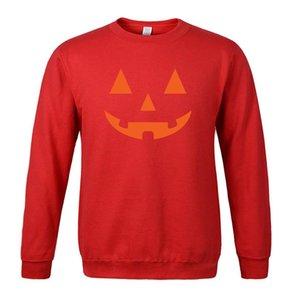 2020 Mens Halloween Sweatshirt Hoodies Casual Loose Black Pumpkin Smile Face Fleeced Winter Outwear Sport Pullovers