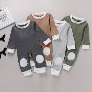 Neugeborene Jungen-Mädchen-Strampler Infant Pit Striped Jumpsuits Baumwolle Baby-Langarm-Body Fashion Boutique Kinder-Kletterkleidung M2623