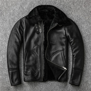 Nature Lambs Wool Fur Leather Leather Male Sheep Wool Warm Coat Motorcycle Jacket