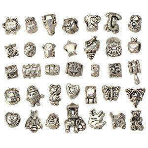 los granos mezcla europeos para las pulseras DIY metales establecido agujero grande de artesanía de plata antigua manera de los surtidores nuevos accesorios de la joyería 160pcs
