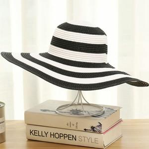 Rayas de la playa de sombreros paja de las mujeres sombrero de ala Classic Girl Negro y rayas de la vendimia blanca del borde grande ancho sombrero de Sun de la manera de los casquillos GGA3631-7