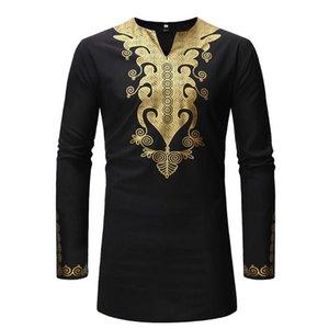 La camisa de manga completa para los hombres Roupa Masculina para hombre Top de la técnica africanos Hombres Ropa 2020 Riche ropa africana de Dashiki Para Z0306