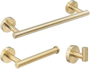 Conjunto de hardware de baño 12''ToWel Bar, soporte de papel higiénico, anillo de toalla, gancho de toba, conjunto de accesorios de baño de pared de oro cepillado