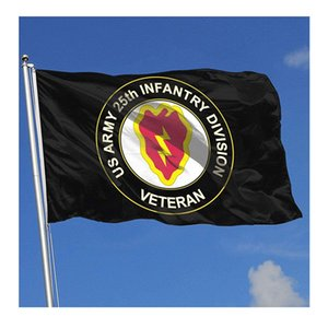 US Army Veteran 25th Infantry Division Flag 150x90cm 3x5ft Printing Polyester Club Team Sports Indoor With 2 Brass Grommets,Free Shipping