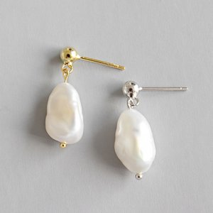 Sterling Silver Jewelry Earrings Simple Baroque Freshwater Irregular Pearl Dangle Earring For Women Girls Gifts Drop Earring ps2081
