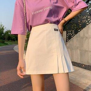 de mulheres brancas de verão 2020 nova alta cintura quadril denim saia plissada Umbrella plissado skirt- linha de guarda-chuva saia overskirt