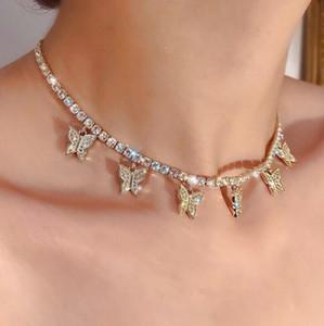 Frauen Art und Weise Schmucksache-Schmetterlings-Halskette weibliche Strass Glänzende Statement Kristall-Charme-Halsketten-Geschenk