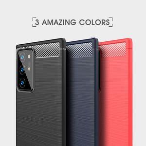 İş Vaka İçin Samsung Galaxy Note 20 Ultra Karbon Elyaf Fırçalı TPU Telefon Kapak İçin Samsung M01 A01 Çekirdek M51 A21S A31
