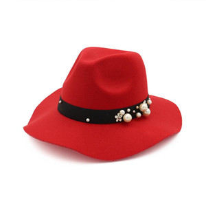 2019 Spring Summer fashion fedoras vintage Jazz Fedoras hat female waves large brim Formal Party And Stage pearl Top Hat