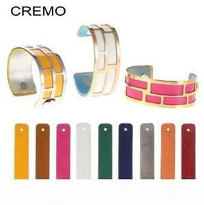 Cremo PU Leather 25mm Interchangeable Reversible Leather Band Jewelry Accessory for Personalized Stainless Steel Women Bangle