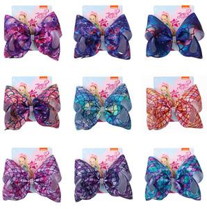8inch Jojo Siwa Big Bow Firkete Denizkızı Kağıt Headress Aksesuarları D82708 ile Tasarımcılar Hairbows Klipleri Barrette Bebek Kız Saç Klip Scales